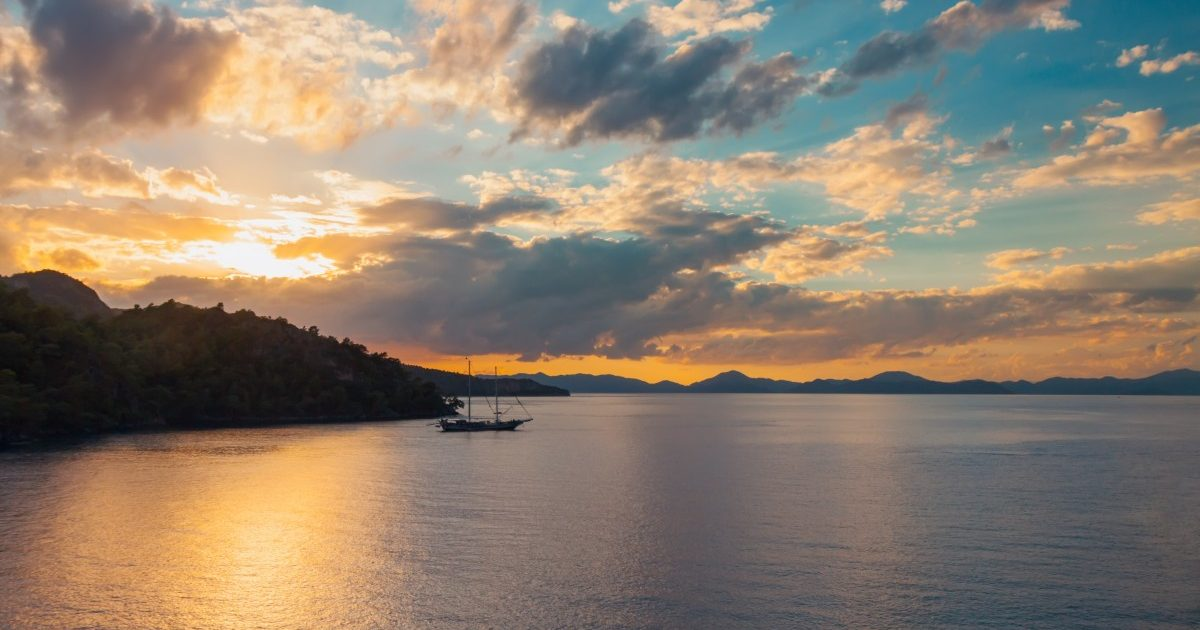 Beautiful beach and pine trees at Mediterranean sea. Fethiye Turkey