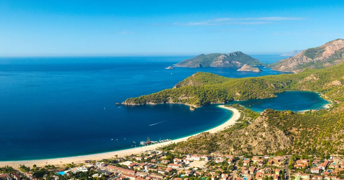 Summer view to Oludeniz lagoon beach landscape Fethiye Turkey