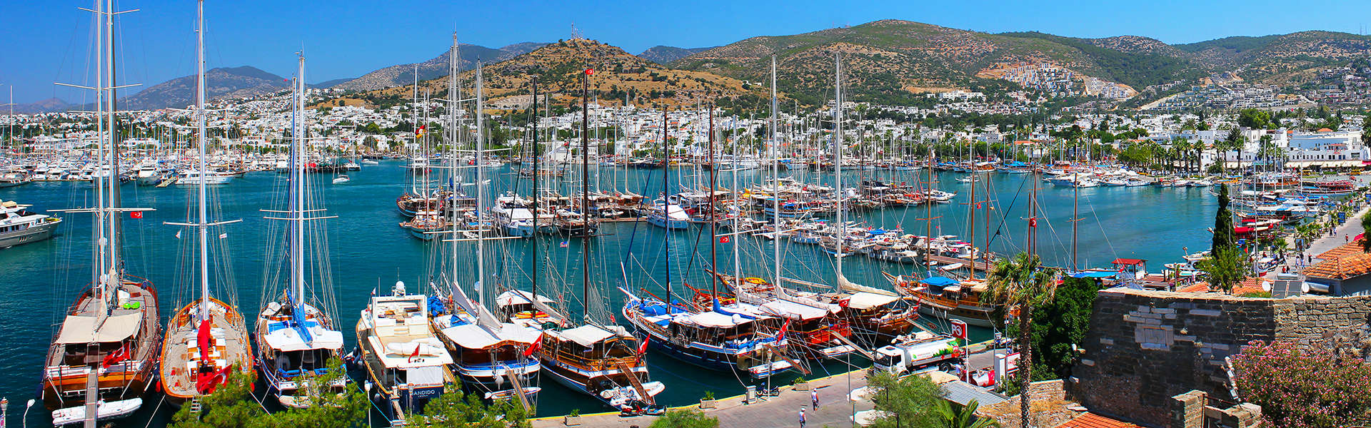 Panorama of the waterfront city of Bodrum in Turkey