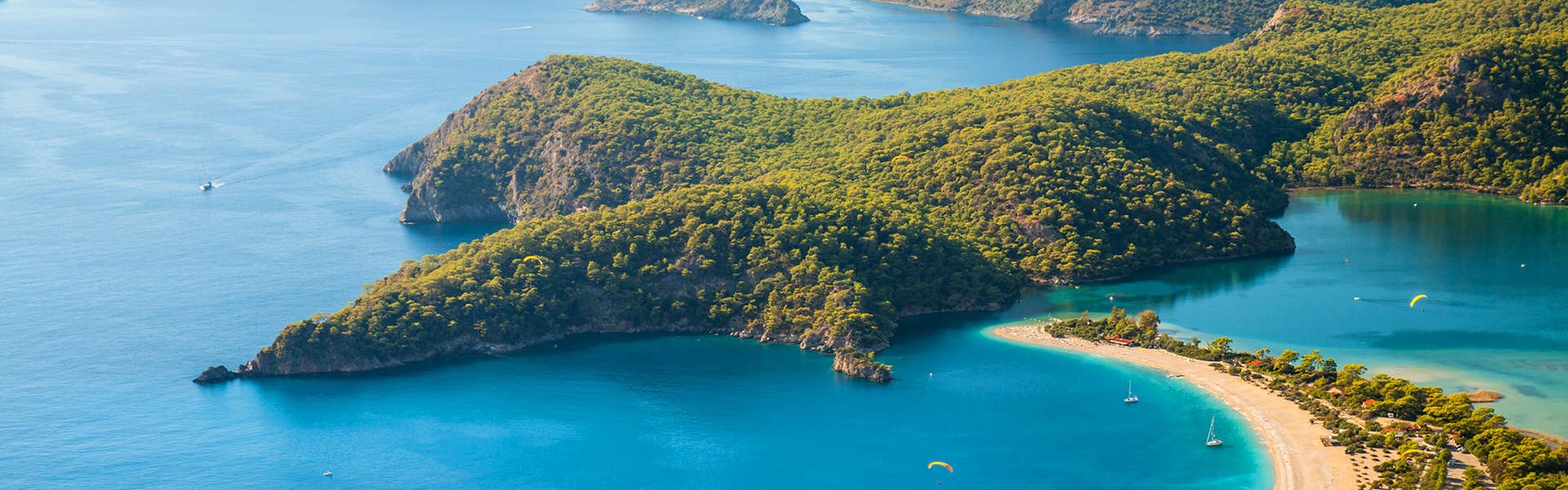 Oludeniz lagoon in sea landscape view of beach Turkey