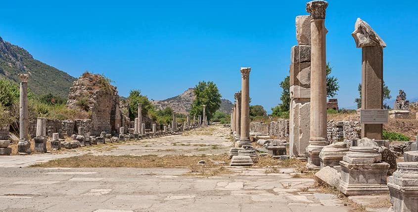 Arcadian Street (Harbor Street) in ancient Ephesus. Turkey
